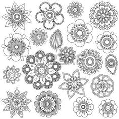 bouddha lotus: Collection Vecteur de griffonnage style Fleurs ou Mandalas Illustration