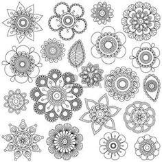 bouddha lotus: Collection Vecteur de griffonnage style Fleurs ou Mandalas Illustration