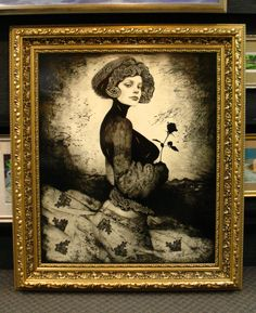 """Timur Tsaku's portrait of a woman is magnificent in this 7"""" gold carved Roma frame."""