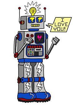 '80's Love Robot' Funny Cute Vintage Robot w/ Feelings 12x18 - Vinyl Print Poster