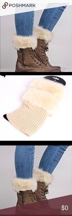 💕COMING SOON💕STYLISH FAUX FUR BOOT CUFFS. Beige faux fur boot cuffs Accessories Hosiery & Socks