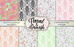 Floral & Damask seamless pattern set by Gaynor Carradice Designs on @creativemarket