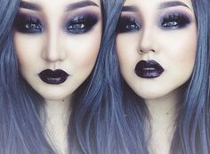 dark periwinkle hair and eye makeup with dark black lips Goth Makeup, Dark Makeup, Skin Makeup, Makeup Art, Beauty Makeup, Grungy Makeup, Periwinkle Hair, Dark Purple Hair, Dark Beauty