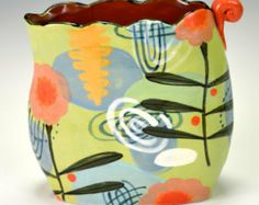 Small Vase, Greens. Nancy Gardner Ceramics.