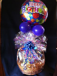 Easter gift basket with balloon small large available 1495 grand gourmet gift basket with many gourmet food and treats and happy birthday balloons negle Gallery