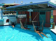 Hammocks in the pool at Nippers Beach Bar and Grill, Great Guana Cay, Bahamas.