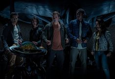 Bill Hader, Becky G, Ludi Lin, Dacre Montgomery, Naomi Scott, and RJ Cyler in Power Rangers (2017)