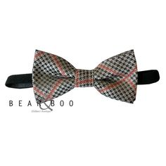 Dapper little fall toddler and baby bow ties! Black Houndstooth print with orange plaid. Just $9.98!
