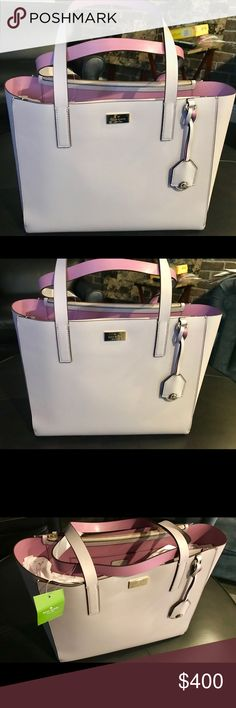 NWT Kate Spade Putnam Drive Tote This lilac tote is a wonderful addition to your tote collection. In a unique pearl lilac, this standout piece is perfect for brunch to the lake or brunch at the lake. Darker purple interior also a lovely pearl. Two tone beauty. kate spade Bags Totes