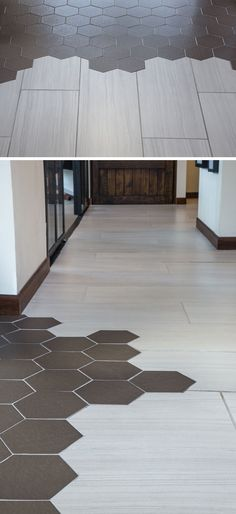 19 Ideas For Using Hexagons In Interior Design And Architecture // Studio 11 used a mix of hexagon and wood tiles for their flooring when they designed their own office.