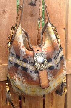 Pendleton Wool & Distressed Brown Leather Western Bag with Vintage Findings Leather Purses, Leather Bag, Brown Leather, Leather Belts, Hippie Style, Pendleton Wool, Pendleton Purse, Cowgirl Style, Western Style