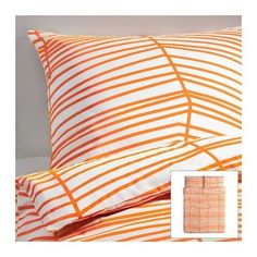 NEW IKEA ODESTRAD WHITE AND ORANGE STRIPE DUVET QUILT COVER SET SOFT COTTON POLY #IKEA