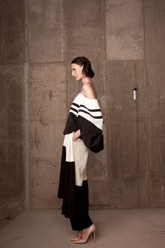 stripe#black white#Chic Rosie Assoulin | @andwhatelse