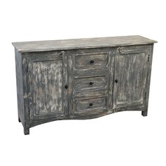 Christopher Knight Home Hansi White/ Grey Wash Three Drawer Two Door Sideboard - 59 inches Wide x 15.5 inches deep x 35 inches high (good size!)
