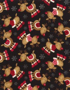 Flannel Rudolph Reindeers - Our Fabrics   TIMELESS TREASURES
