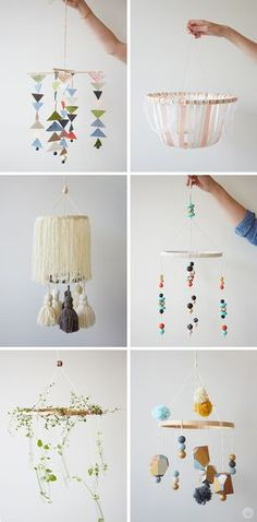 DIY: Embroidery Hoop Baby Mobile - Think. - How cute are these DIY baby mobiles? If you're planning or decorating a modern nursery for a baby - Baby Nursery Diy, Baby Room Diy, Baby Room Decor, Nursery Ideas, Room Ideas, Project Nursery, Nursery Decor, Nursery Toys, Nursery Inspiration