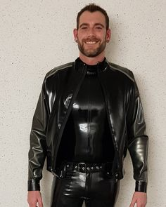 Latex Men, Future Fashion, Woody, Motorcycle Jacket, Leather Jacket, Suits, Jeans, Hot, How To Wear