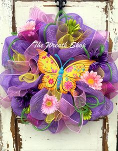 Spring Butterfly Deco Mesh Wreath at thewreathshop.com Spring Wreaths Summer Wreaths Deco Mesh Wreaths Supplies