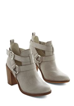 Steady As a Rock Bootie. For modern flair you can rely on again and again, reach for these vegan faux-leather, heeled booties by Report Footwear. #grey #modcloth