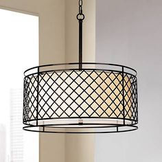 "Lattice 4-Light 20 1/4"" Wide Bronze Pendant Light - #V5968 