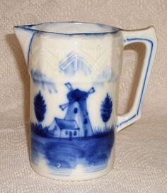 Vintage Milk Pitcher   Flow Blue Windmill scene