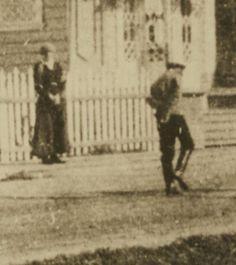 "Closeup picture of the Grand Duchess Tatiana Nikolaevna Romanova of Russia  and Tsarevich Alexei Nikolaevich Romanov of Russia in front of the Governor's Mansion at Tobolsk 1917/1918. ""AL"""