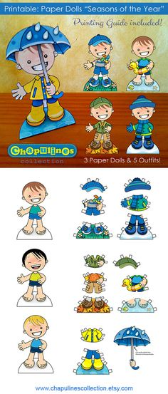 Paper Dolls - Printable - Seasons of the Year - Boys - Full Color - Set 023