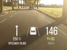 Simple HUD demo  Includes speedometer, cruise control speed indicator, max. speed road sign, no overtaking road sign, adaptive cruise control, lane departure warning, blind spot warning, turn arrow...