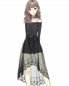 A pretty girl with a simple black dress very simple at the top and sheer flowers. - A pretty girl with a simple black dress very simple at the top and sheer flowers on the bottom Source by emiliosarvid - Manga Girl, Chica Anime Manga, Dress Drawing, Drawing Clothes, Manga Drawing, Kawaii Anime Girl, Anime Art Girl, Anime Girls, Anime Outfits