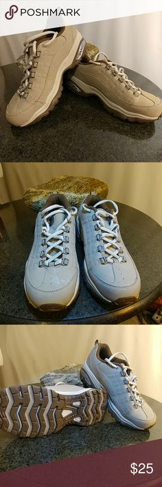 Athletic women's sketchers shoes Leather synthetic uppers worn one time like new Skechers Shoes Athletic Shoes
