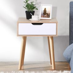 Yaheetech Retro Bedside Table End Table Nightstand with Storage Drawer and Solid Wood Legs Living Room Bedroom Furniture 48 x 40 x End Tables With Drawers, Side Table With Drawer, End Tables With Storage, Desk With Drawers, Side Table For Bed, Modern End Tables, Wood End Tables, Walnut Bedside Table, Modern Bedside Table