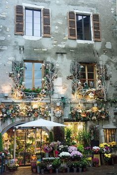 Flower Shop in Old House - Annecy, France - small town close to the Swiss border in Eastern France.