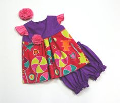 Baby Girl Dress with Matching Diaper by PinkMouseKids on Etsy, $38.00