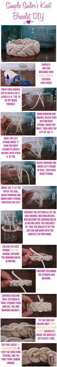 Sailors Knot Bracelet DIY Instructions:                                                                                                                                                                                 More
