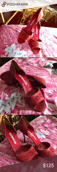 "Manolo Blahnik Red Heels 👠 Manolo Blahnik 3"" heels 👠 Great condition! Manolo Blahnik Shoes Heels"