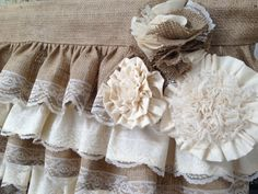 Burlap ruffles with lace trim with ornate handmade fabric flowers made to order in any size you request. Perfect for any shabby chic, cottage, country chic decor. Listing size: 60 wide and 20 long Dry clean Country Chic Decor, Country Chic Cottage, Shabby Chic Cottage, Shabby Chic Homes, Shabby Chic Decor, Country Kitchen, Lace Valances, Burlap Valance, Burlap Fabric
