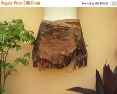 "20%OFF bohemian tribal gypsy fringed leather belt..25"" to 33"" waist or hips.."