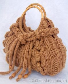 Knitted bags are fashionable and stylish accessory that would be relevant not only in the cold season. These bags are warm an. Fabric Handbags, Crochet Handbags, Crochet Purses, Hand Knit Bag, Knitting Patterns, Crochet Patterns, Purse Patterns, Gold Embroidery, Knitting Accessories
