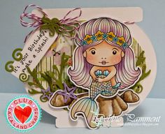 From our Design team! Card by Debbie Pamment featuring the Club La-La Land Crafts (August) exclusive Sitting Mermaid Marci and exclusive dies Seaweed Border and Under the Sea Set.   Club La-La Land Crafts subscription details are here - http://lalalandcrafts.com/Club_La-La_Land_Crafts.html Coloring details and more Design Team inspiration here - http://lalalandcrafts.blogspot.com.au/