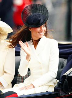 c34eadaf64a Kate in McQueen and black Philip Treacy hat for the Queen s birthday  Duchess Kate