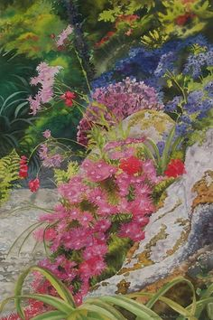 Tresco Abbey Garden, Isles of Scilly. Photo by Amanda Richardson Art Floral, Watercolor And Ink, Watercolor Flowers, Leaf Projects, Collage Art, Collages, Textile Artists, Silk Painting, Embroidery Art