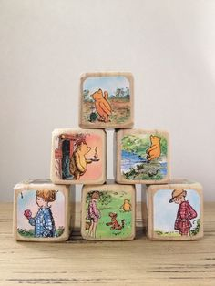 Winnie The Pooh The House At Pooh Corner // Childrens Book Blocks // Natural…