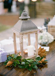love the magnolia wreath on this lantern | Melissa Schollert #wedding