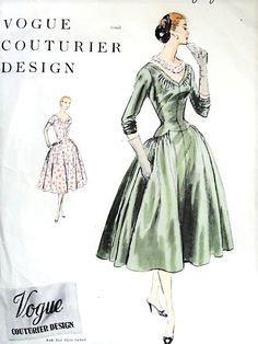 1950s BEAUTIFUL Party Evening Dress Pattern VOGUE COUTURIER Design 836 Flattering Elongated Bodice, Wide Low Neckline Bust 34 Vintage Sewing Pattern