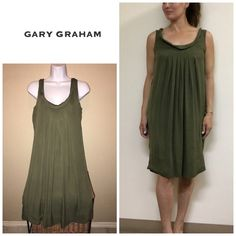 Gary Graham silk dress - olive Size 6 and is a Flowy dress so will fit a size 4-8 easily . By Gary graham . Material 100% silk . Will bundle for 10% off. Excellent condition Gary Graham Dresses