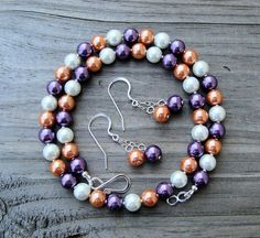 Clemson Prep Creamy Orange White and Purple Pearl Necklace & Earrings Jewelry Set-great for team spirit and tailgating. $25.00, via Etsy.