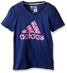 adidas Big Girls 30S Short Sleeve Tee Flower ADI Logo, Raw Purple, Small - http://our-shopping-store.com