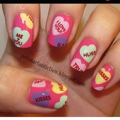 Good idea for accent nail for Valentines