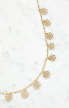 Add a feminine flair to your casual look with the Daisy Necklace from our very own LA Hearts. This necklace has daisy charms on a gold chain. Daisy Necklace, Gold Necklace, Gold Chains, Women's Accessories, Bling, Purple, Pacsun, Art Projects, Swarovski