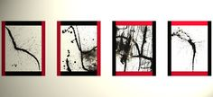 4  Abstract Black And White Paintings  Expressive by Creative108